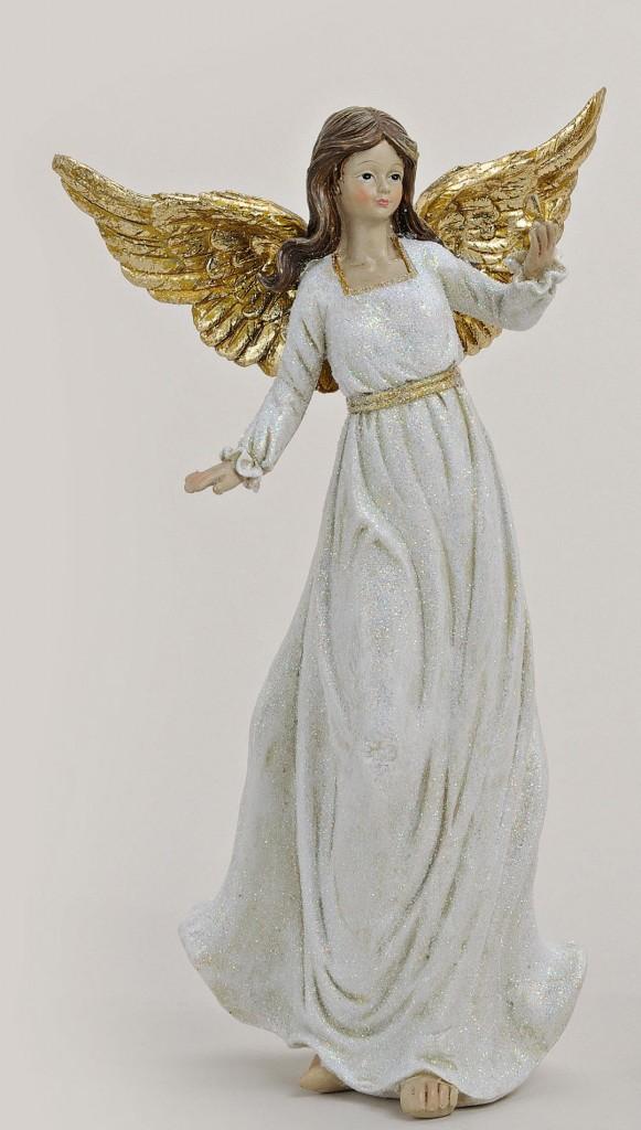 12732a Engel i hvid og guld 23 cm